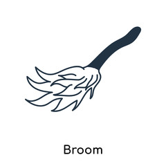 Broom icon vector isolated on white background, Broom sign , illustration with thin symbols or lined elements in outline style