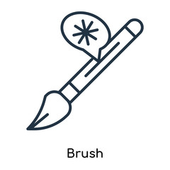 Brush icon vector isolated on white background, Brush sign , thin symbols or lined elements in outline style