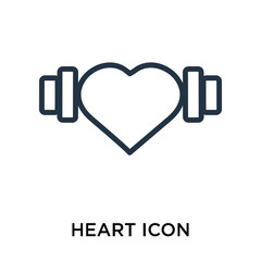 Heart icon vector isolated on white background, Heart sign , thin elements or linear logo design in outline style