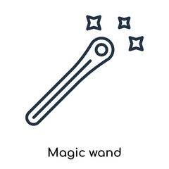 Magic wand icon vector isolated on white background, Magic wand sign , thin symbols or lined elements in outline style