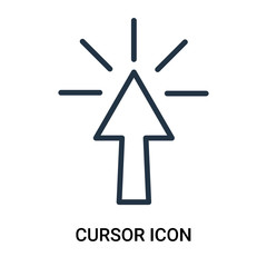 Cursor icon vector isolated on white background, Cursor sign , outline linear symbol or thin lined pictogram