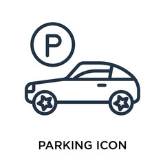 parking icon isolated on white background. Simple and editable parking icons. Modern icon vector illustration.