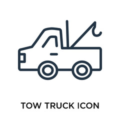 Tow truck icon vector isolated on white background, Tow truck sign , thin elements or linear logo design in outline style