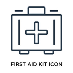 First aid kit icon vector isolated on white background, First aid kit sign , thin elements or linear logo design in outline style