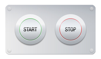 Start and stop button on a chrome surface panel for instruments, machines, gadgets.