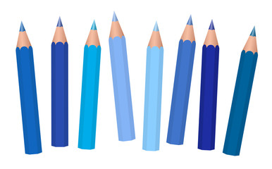 Blue crayons - short pencils loosely arranged, different blues like azure, aqua, sky, royal, midnight, cadet, navy, dark. medium or light blue. Isolated vector on white background.