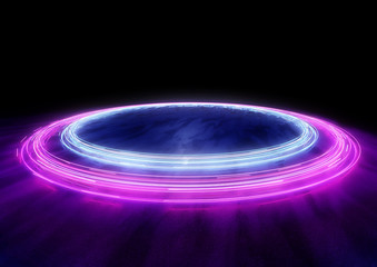 Neon Circles of car light trails. 3D illustration Fotomurales