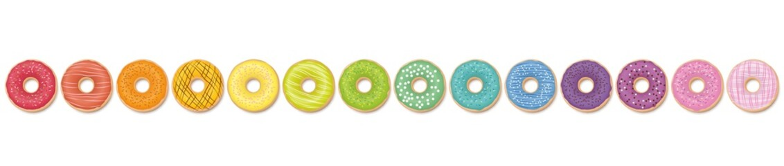 Donut pattern. Rainbow colored donuts in a line. Isolated vector illustration on white background.