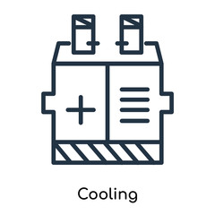 Cooling icon vector isolated on white background, Cooling sign , thin symbols or lined elements in outline style