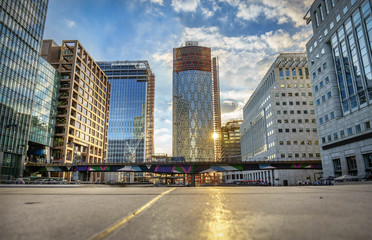 Office buildings and South Quay footbridge in Canary Wharf, London