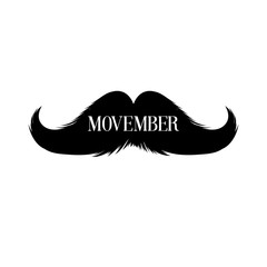 Moustaches Clipart. Black Isolated Silhouette and Hand Drawn Lettering with word Movember. Cinco de Mayo Paper Cutting Design. Mustache for barbershop or Mustache Carnival