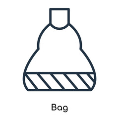 Bag icon vector isolated on white background, Bag sign , thin symbols or lined elements in outline style