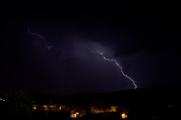 Lightning bolts from monsoon storms in northern Arizona