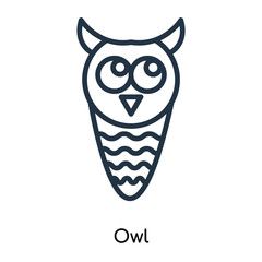Owl icon vector isolated on white background, Owl sign , thin symbols or lined elements in outline style