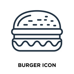 burger icon isolated on white background. Modern and editable burger icon. Simple icons vector illustration.