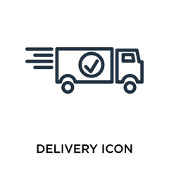 Delivery icon vector isolated on white background, Delivery sign , line symbol or linear element design in outline style