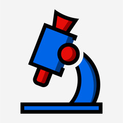 Coloured outline microscope pixel perfect vector icon