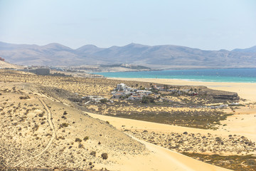 Viewpoint on beach with turquoise water, Fuerteventura