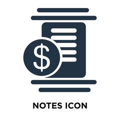 notes icon isolated on white background. Modern and editable notes icon. Simple icons vector illustration.