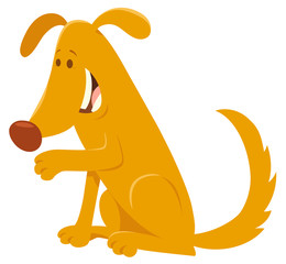 happy yellow dog cartoon character