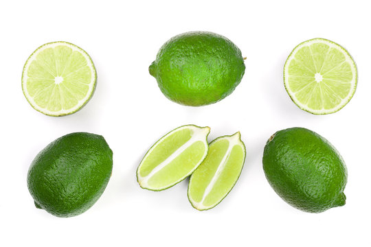 sliced lime isolated on white background. Top view. Flat lay pattern