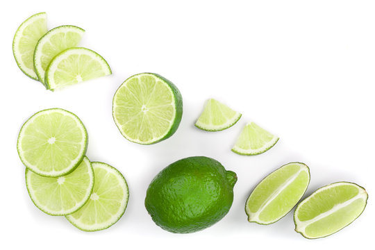 sliced lime isolated on white background with copy space for your text.. Top view. Flat lay pattern