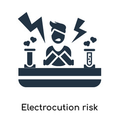 Electrocution risk icon vector isolated on white background, Electrocution risk sign , symbols or elements in filled style