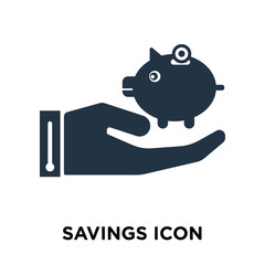 savings icon isolated on white background. Modern and editable savings icon. Simple icons vector illustration.