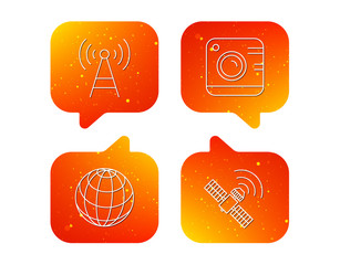Photo camera, globe and gps satellite icons.