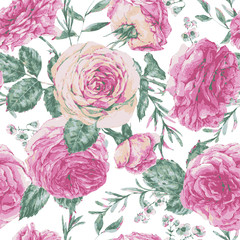 Vector vintage floral greeting card with pink roses