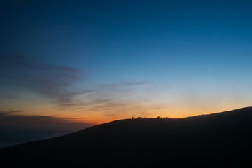 Silhouette of a mountain during a sunset in Azores