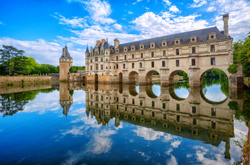 Poster European Famous Place Chenonceau Castle in Loire Valley, France, panoramic view