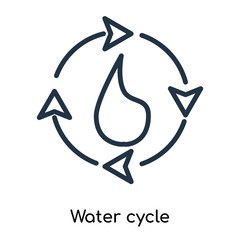 Water cycle icon vector isolated on white background, Water cycle sign , thin symbols or lined elements in outline style