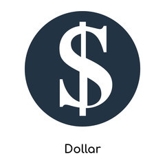 Dollar icon vector isolated on white background, Dollar sign , symbols or elements in filled style