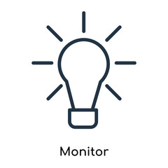 Monitor icon vector isolated on white background, Monitor sign , thin symbols or lined elements in outline style