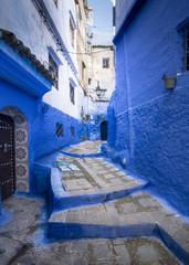 Callejón de Chefchaouen en Marruecos