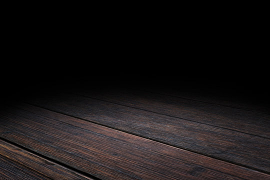 Dark Plank old wood floor texture perspective background for display or montage of product,Mock up template for your design.