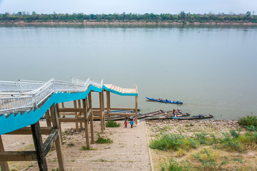 Boats on Mekong River in Khemarat, Ubon Ratchathani, Thailand