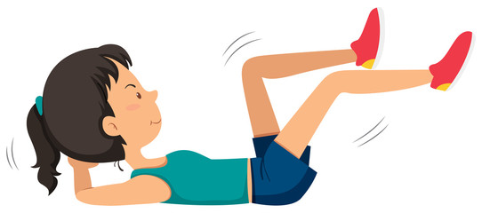 Girl doing ab bicycle exercise