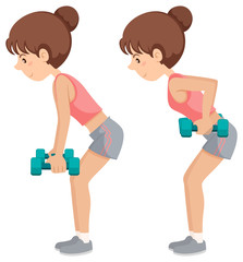Girl doing weighted arm exercises