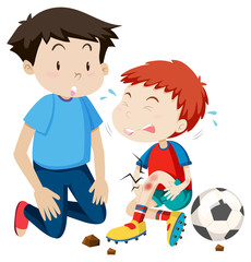 young man helps hurt soccer player