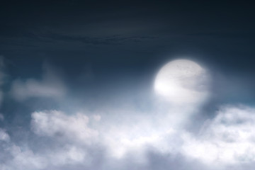 Full moon with cloudscape on the sky