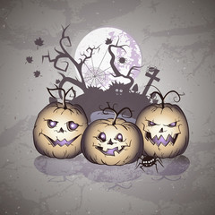 Vector Halloween illustration with smiling Pumpkins and castle on grunge background.