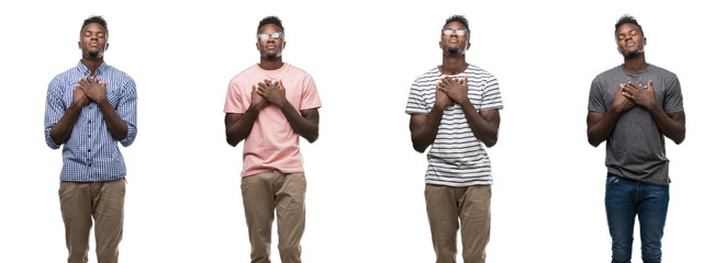 Collage of african american man wearing different outfits smiling with hands on chest with closed eyes and grateful gesture on face. Health concept.
