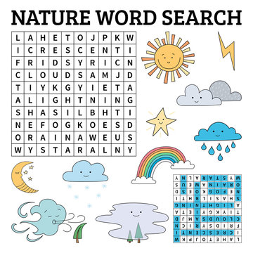 Learn English with a nature word search game for kids. Vector illustration.
