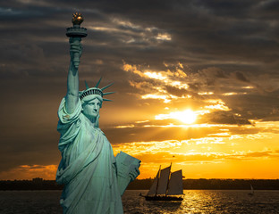 The New York harbor sunset
