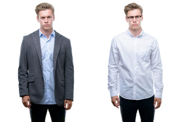 Young handsome blond business man wearing different outfits skeptic and nervous, frowning upset because of problem. Negative person.