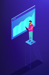 Isometric SEO specialist monitoring data with chart illustration. SEO optimization, digital marketing, data analysis and research concept. Blue violet background. Vector 3d isometric illustration.