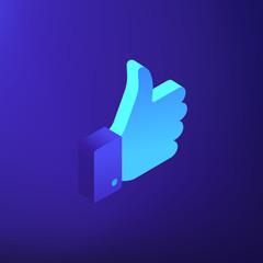 Isometric social media like thumb up icon illustration. Digital marketing service, search engine ranking, social media marketing concept. Blue violet background. Vector 3d isometric illustration.