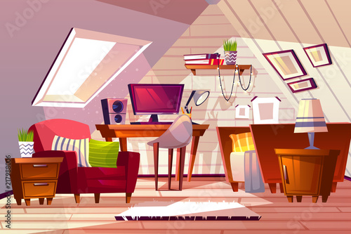 Attic room interior vector illustration. Cartoon garret design ...